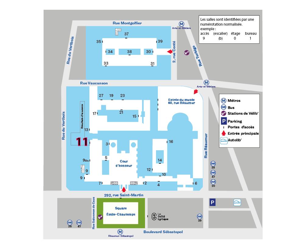 Plan d'accès à l'accès 11 - 292 rue St Marin